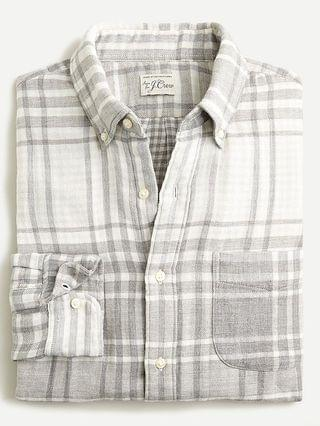 MEN Slim double-weave shirt in plaid
