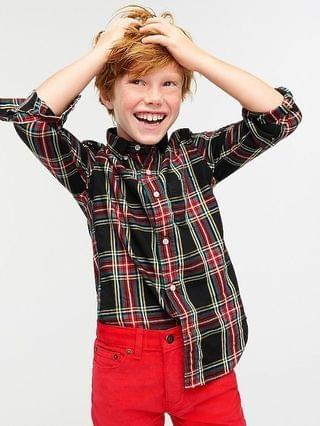 KIDS Boys' stretch poplin button-down in Stewart tartan