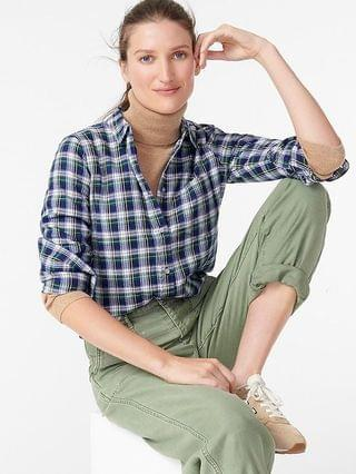 WOMEN Classic-fit boy shirt in Campbell plaid flannel