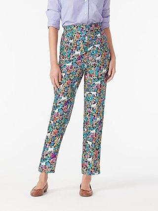 WOMEN Collection high-rise silk-twill trouser in grazing goats print