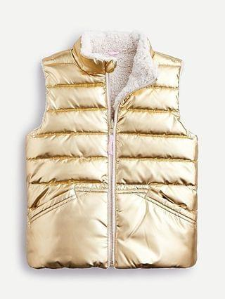 KIDS Girls' reversible sherpa vest with PrimaLoft