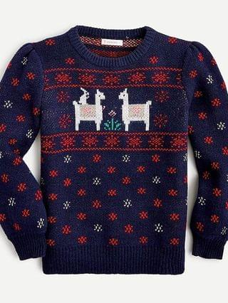KIDS Girls' festive llama Fair Isle sweater