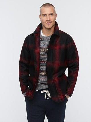MEN Chore coat in red plaid double-faced Italian wool