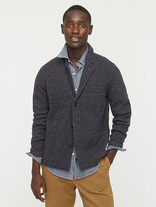 MEN Merino wool-blend donegal birdseye sweater-blazer