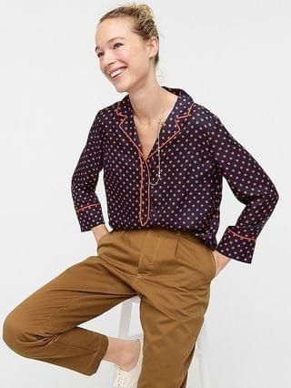 WOMEN Collection silk-twill popover top in polka dot