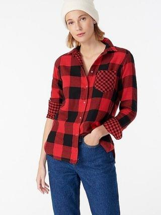 WOMEN Classic-fit boy shirt in buffalo check