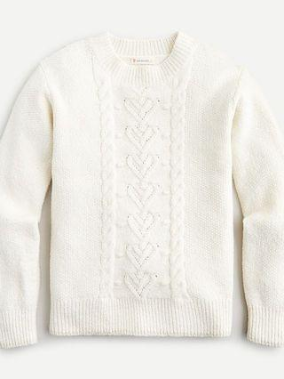 KIDS Girls' heart cable-knit crewneck sweater