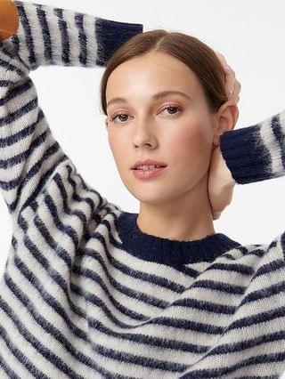 WOMEN Elbow-patch crewneck sweater in striped lambswool