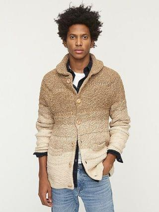 MEN Cotton cable-knit ombr shawl-collar cardigan sweater