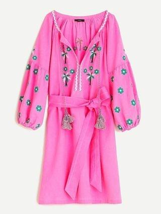 WOMEN Tassel belted cover-up dress with embroidered daisies