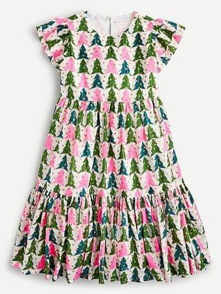 KIDS Girls' tiered dress in winter trees