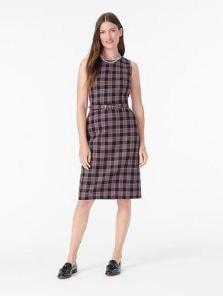 WOMEN Belted sheath dress in black Stewart tartan