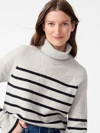 WOMEN Tipped turtleneck sweater in striped supersoft yarn