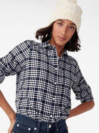 WOMEN Classic-fit boy shirt in frost plaid flannel