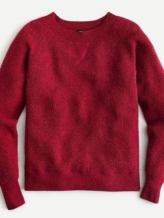 WOMEN Waffle crewneck sweater in supersoft yarn