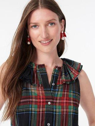 WOMEN Sleeveless ruffle-collar top in black Stewart tartan