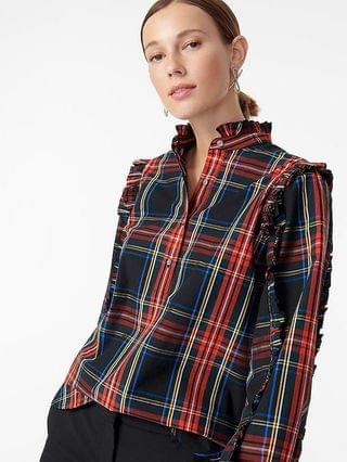 WOMEN Classic-fit ruffle popover in black Stewart tartan