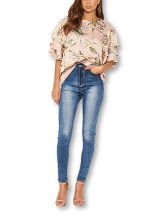 WOMEN Floral Printed Layered Frill Sleeve Top