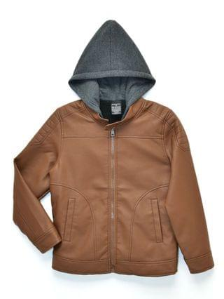 KIDS Big Boys Quinn Sherpa Lined Moto Jacket with Fleece Hood, Made For Macy's