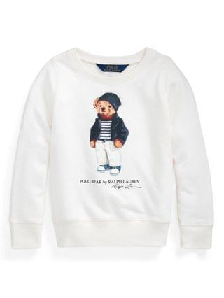KIDS Toddler and Little Girls Polo Bear French Terry Sweatshirt