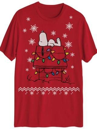 MEN Snoopy Christmas House Lights Graphic Tee