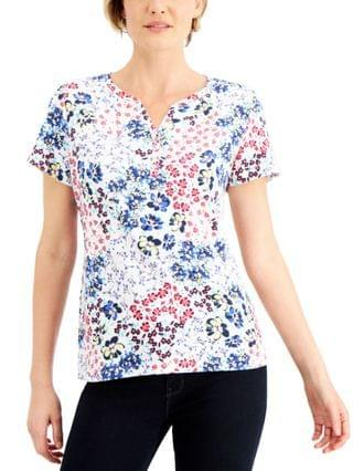 WOMEN Printed Henley Top, Created for Macy's