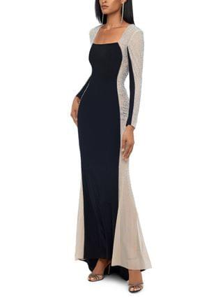 WOMEN Petite Embellished Colorblocked Gown