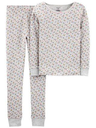 KIDS Big Girls 2-Piece Floral Snug Fit Cotton PJs