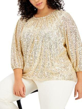 WOMEN Plus Size Ruched Sequin Top, Created for Macy's