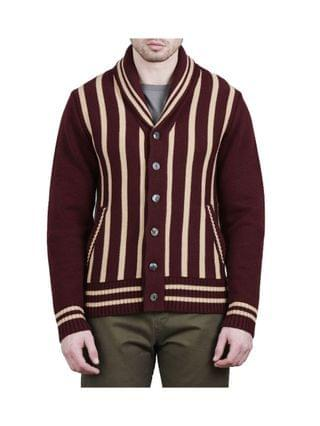 MEN Billy The Kid Shawl Collar Cardigan with Vertical Stripes Sweater