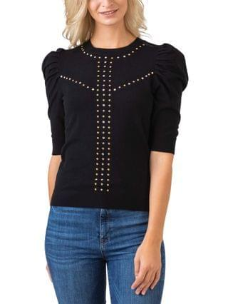 WOMEN Black Label Embellished Puff Sleeve Pullover Sweater