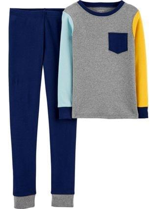 KIDS Big Boys 2-Piece Colorblock Snug Fit Cotton PJs