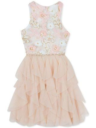KIDS Big Girls Plus-Size Sequin Embroidered Dress