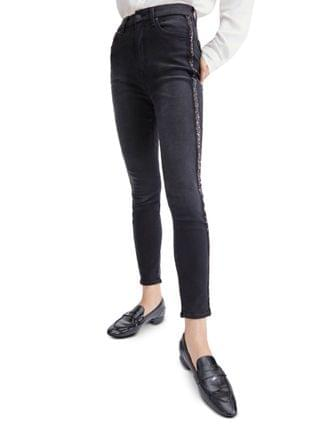 WOMEN Embellished High-Rise Ankle Skinny Jeans