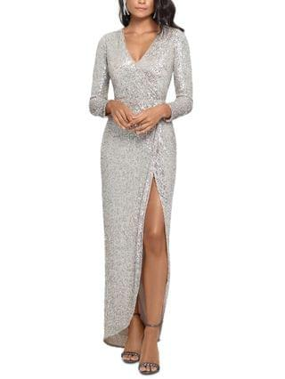 WOMEN Petite Sequined Wrap Gown