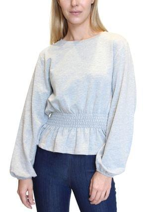 WOMEN Juniors' Smocked-Waist French Terry Pullover
