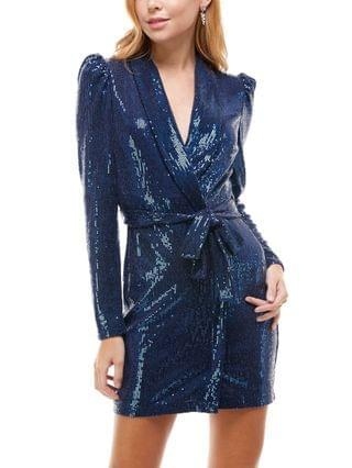 WOMEN Juniors' Sequinned Belted Jacket Dress