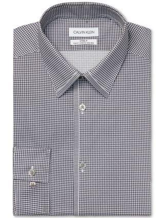 MEN Calvin Klein Men's Slim Fit Non-Iron Stretch Performance Steel Gray Dress Shirt
