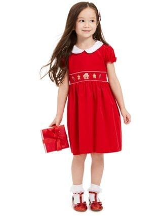 KIDS Little Girls Cotton Gingerbread & Candy Canes Corduroy Dress