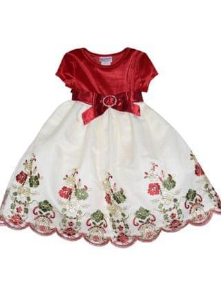 KIDS Little Girls Velvet and Embroidered Dress