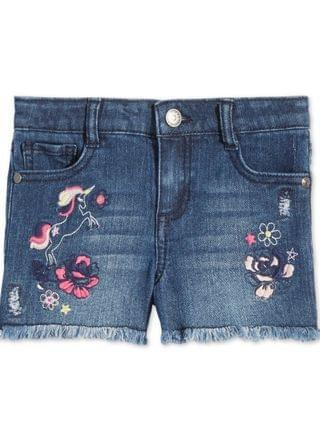 KIDS Little Girls Embroidered Unicorn Denim Shorts, Created for Macy's