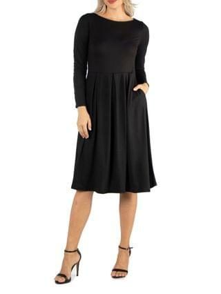 WOMEN Midi Length Fit and Flare Dress