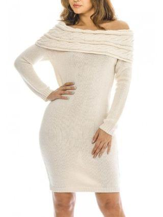 WOMEN Off The Shoulder Knitted Sweater Dress