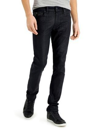 MEN Slim-Fit Tapered Jeans with Faux-Leather Piecing