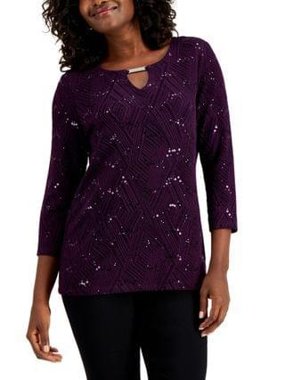 WOMEN Petite Sequined Jacquard Top, Created for Macy's