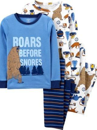 KIDS Big Boys 4-Piece 100% Snug Fit Cotton PJs