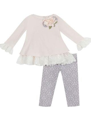 KIDS Little Girl Sweater Set With Lace Detail And Flower Applique Legging Set