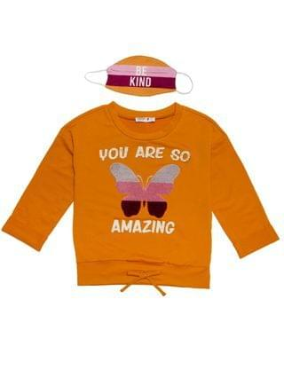 KIDS Big Girls 'You Are So Amazing' Sweater with Matching Mask