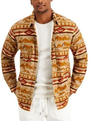 MEN Mountainscape Fleece-Lined Printed Shirt Jacket, Created for Macy's