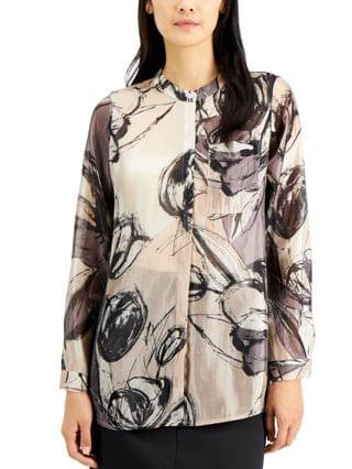 WOMEN Petite Printed Button-Front Top, Created for Macy's